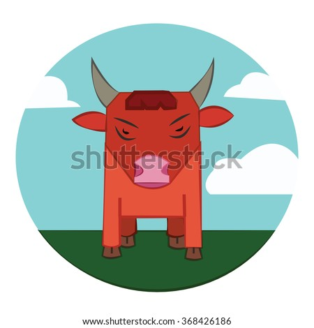 Red Bull with Horns standing in the green field. Sky with clouds summer landscape. Farm animal in the countryside. Round Icon. Digital raster illustration. - stock photo