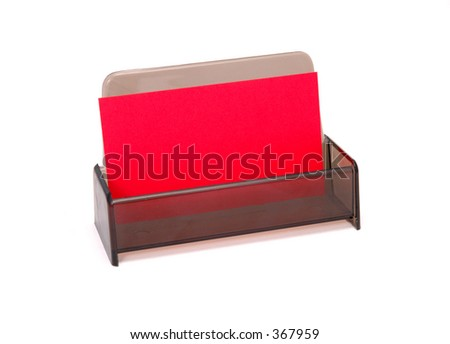 Red Business Card in Holder