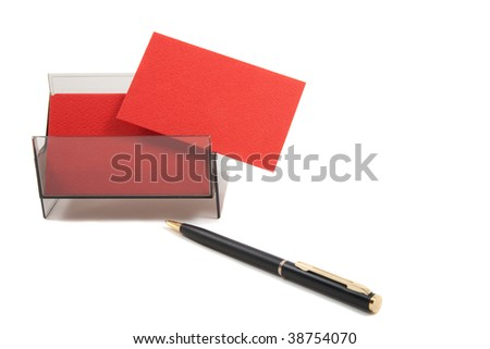 Red business card with empty space for text. Isolated on white background - stock photo