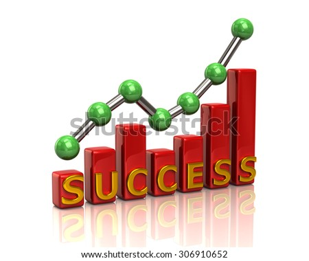 Red business graph chart of success on white background - stock photo