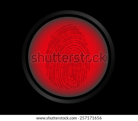 Red button fingerprint biometric not identified. - stock photo