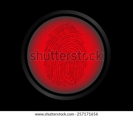 Red button fingerprint biometric not identified. - stock photo