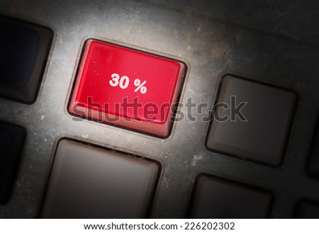 Red button on a dirty old panel, selective focus - 30% - stock photo
