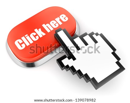 Red button with Click here text and hand link selection computer mouse cursor isolated on white - stock photo