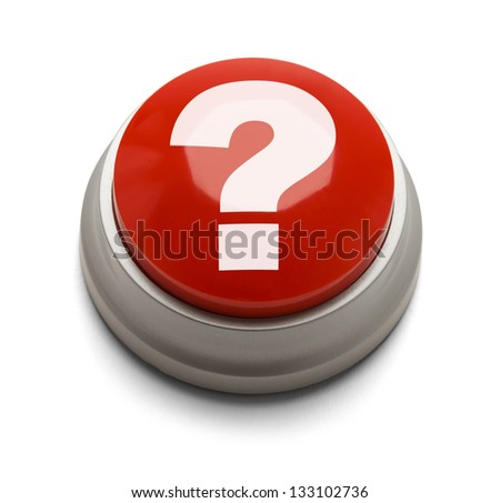 Red button with question mark isolated on a white background. - stock photo