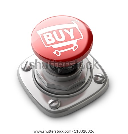 Red BUY button isolated on white background High resolution. 3D image