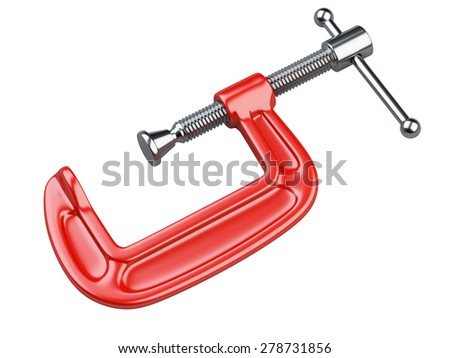 Red C clamp isolated on white background - stock photo