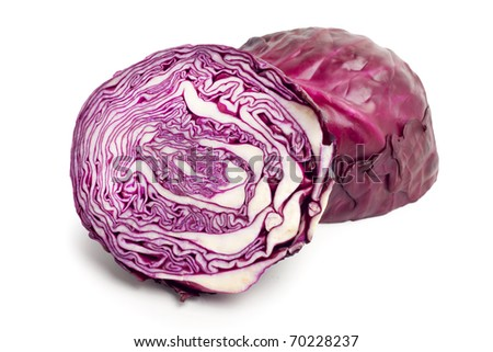 Red cabbage on white