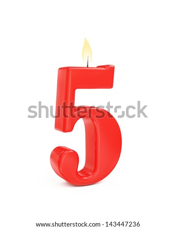 red cake candle number five - 5 isolated on white background - stock photo