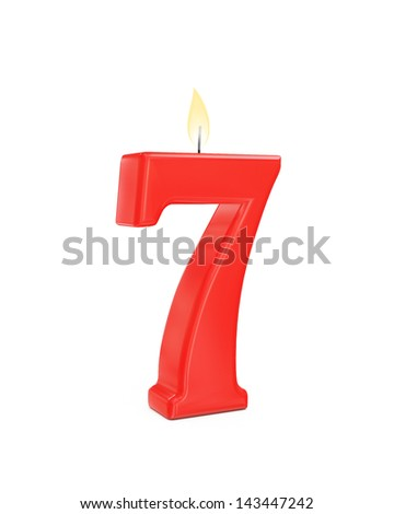 red cake candle number seven - 7 isolated on white background - stock photo