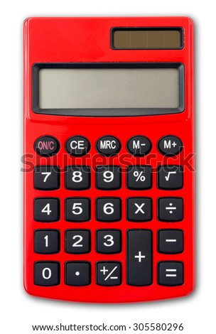 Red Calculator isolated on white background with shadow.