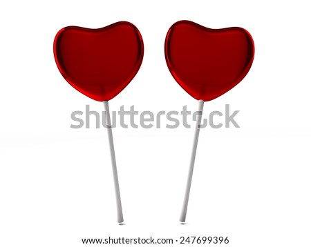 Red candies on a stick isolated on white background. Two sweetmeats. 3D render. - stock photo