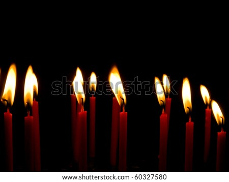 Red Candle light group - stock photo