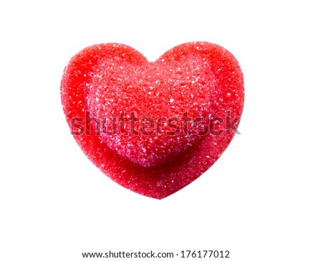 Red candy in heart shape isolated on white with clipping path - stock photo