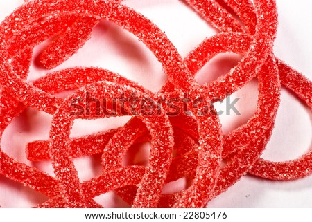 red candy on white background - stock photo