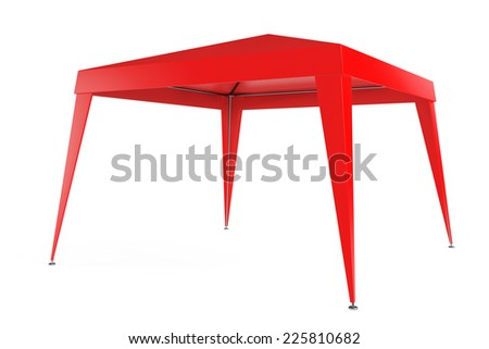 Red Canopy Tent on a white background - stock photo