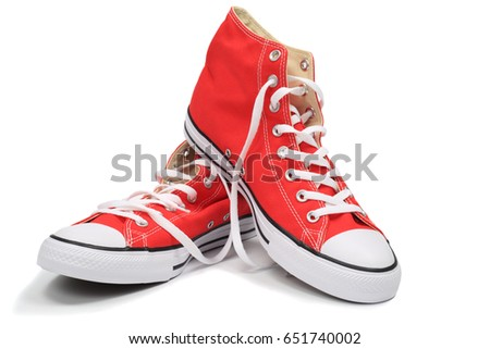 Red canvas sneakers, isolated with clipping path