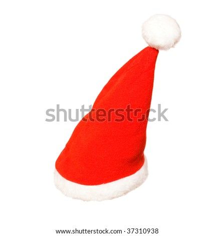red cap isolated on the white background - stock photo