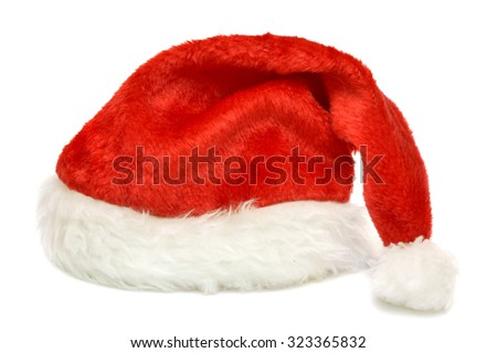 Red cap of Santa on a white background  - stock photo