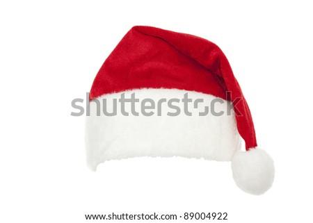 red cap Santa Claus on white background - stock photo