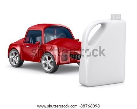 Red car and oil canister on white background. Isolated 3D image - stock photo
