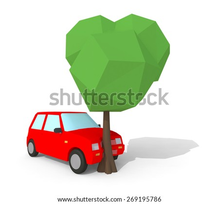 red car crash with a big tree, low poly 3d illustration isolated on white background - stock photo