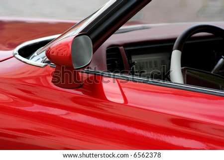 Red car details closeup - stock photo