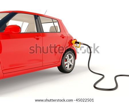 red car fueling on white - stock photo