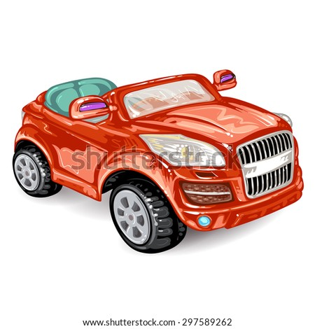 Red car on white - stock photo