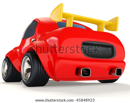 red car on white background - stock photo