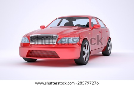 Red car on white background, front view
