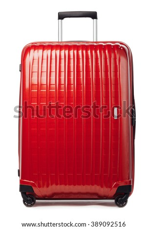 red carbon suitcase isolated on white - stock photo