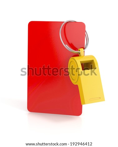 red card, and a whistle isolated on white background. football concept. 3d illustration - stock photo