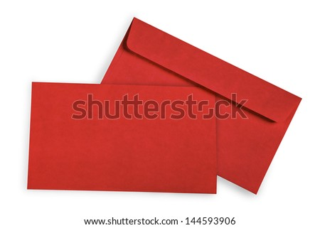 Red card and envelope with shadow