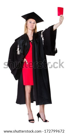 red card for a terrible judge - stock photo
