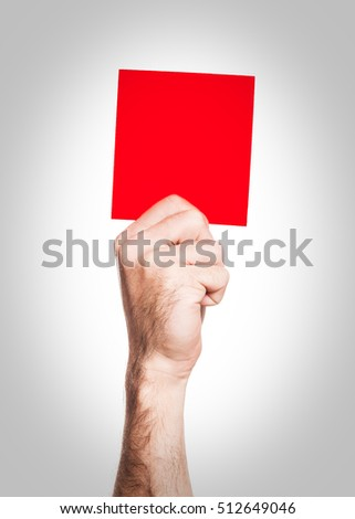 Red card: hand holding a red square - penalty
