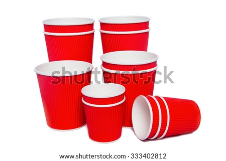 red cardboard cups for hot and cold drinks - stock photo