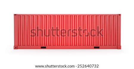 Red Cargo Container Side view, Clipping Path - stock photo