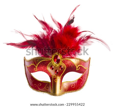 Red carnival mask with feathers isolated on white - stock photo