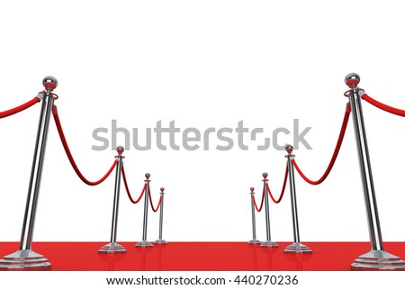 Red Carpet and Barrier Rope on a white background. 3d Rendering - stock photo