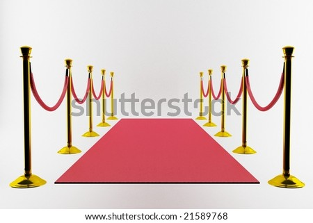 Red carpet and gold entrance on white background