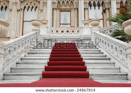 red carpet and marble staircase