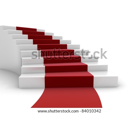 Red carpet and steps - stock photo