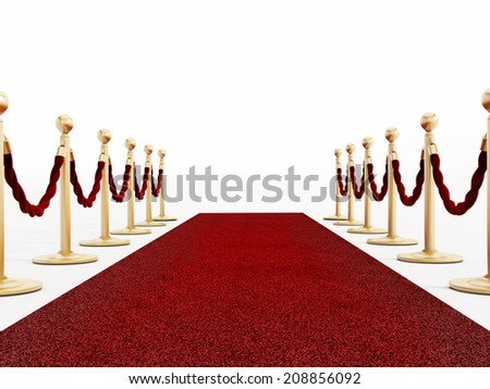 Red carpet and velvet ropes isolated on white - stock photo