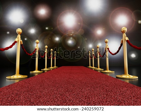 Red carpet at night with flashes concept - stock photo