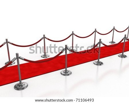 red carpet 3d illustration isolated over white background - stock photo