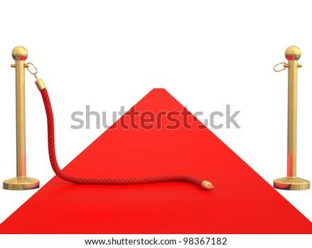 Red carpet. 3D model - stock photo