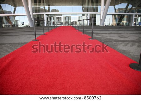 Red Carpet entrance for a celelbrity welcome - stock photo