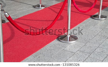 Red carpet entrance sideways - stock photo