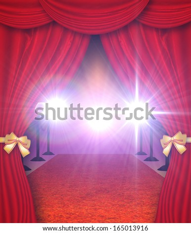 Red carpet entrance with open curtains background. - stock photo